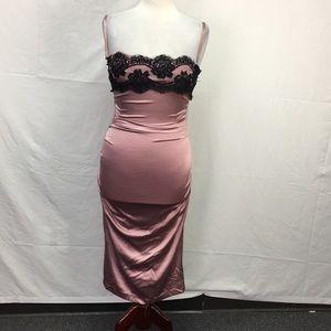 Dolce & Gabbana Pink Lace Trim Ruched Sides Dress